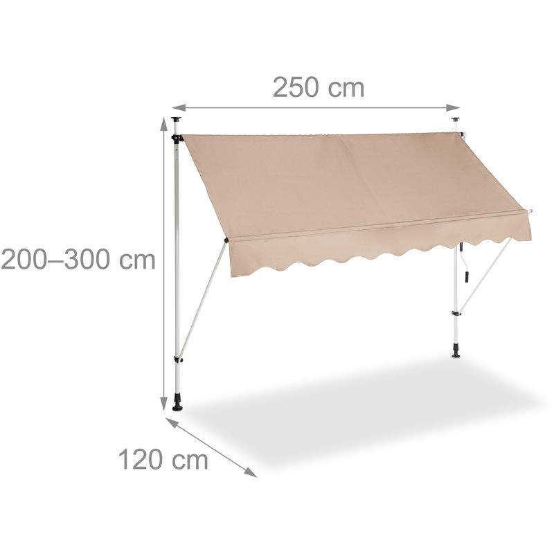 Auvent Retractable 250 Cm Store Manuel Balcon Marquise Soleil Terrasse Hauteur Reglable Sans Percage Beige