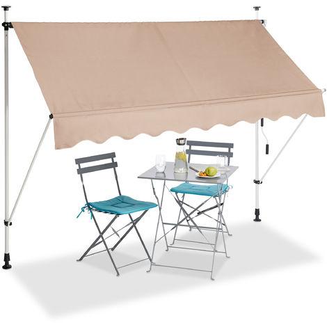 Auvent rétractable 250 cm Store manuel balcon marquise soleil terrasse hauteur réglable sans perçage, beige