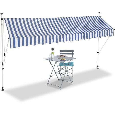 Auvent rétractable 350 cm Store balcon marquise soleil terrasse hauteur réglable sans perçage, bleu-blanc