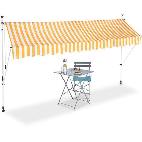 Auvent rétractable 350 cm Store balcon marquise soleil terrasse hauteur réglable sans perçage, jaune-blanc