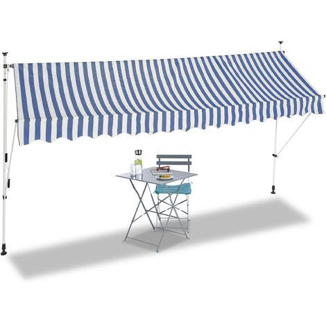 Auvent rétractable 400 cm Store balcon marquise soleil terrasse hauteur réglable sans perçage, bleu-blanc