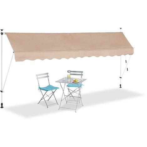 Auvent rétractable 400 cm Store manuel balcon marquise soleil terrasse hauteur réglable sans perçage, beige