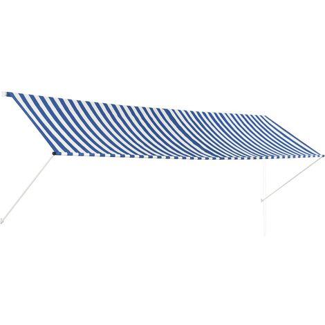 Auvent rétractable 400x150 cm Bleu et blanc
