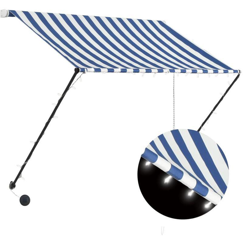 Auvent retractable avec LED 100x150 cm Bleu et blanc