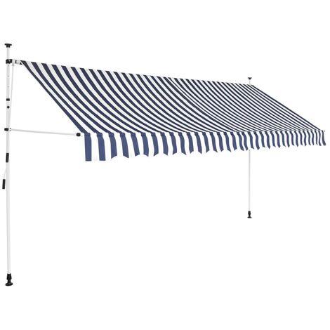 Auvent rétractable manuel 350 cm Rayures bleues et blanches