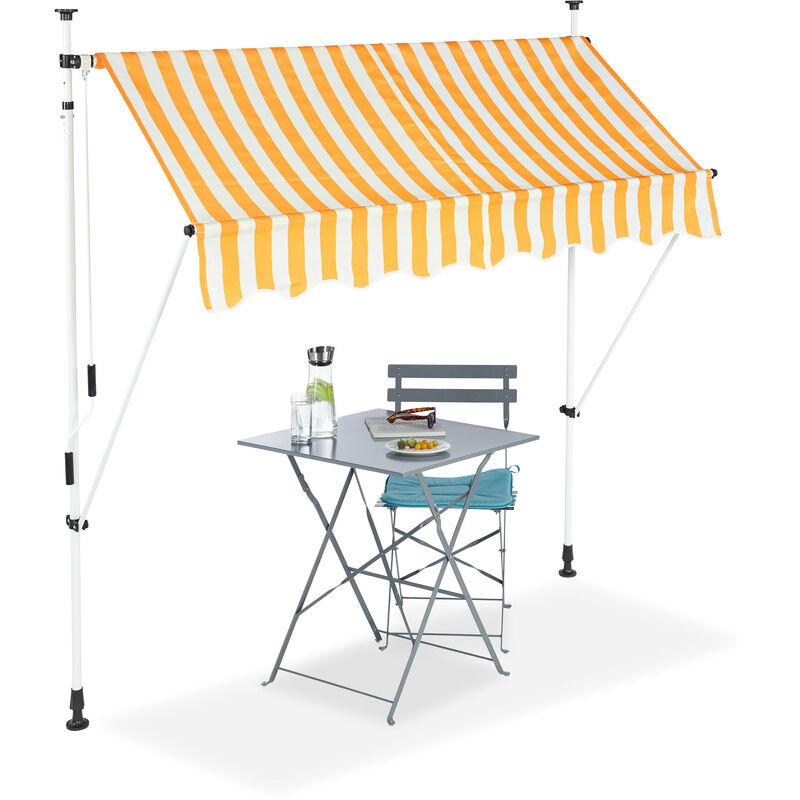 Relaxdays - Auvent rétractable Store 200 cm balcon marquise soleil terrasse hauteur réglable sans perçage, jaune-blanc