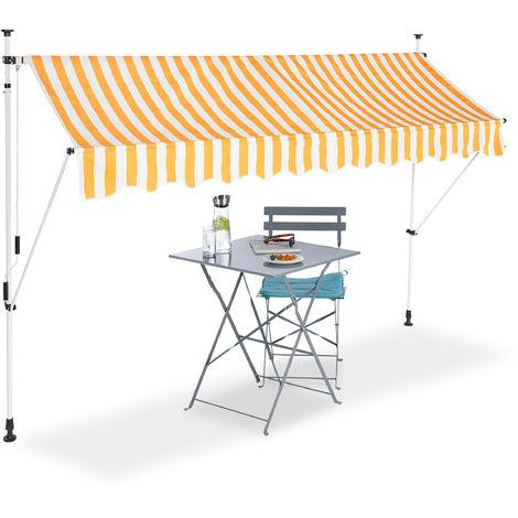 Auvent rétractable Store 300 cm balcon marquise soleil terrasse hauteur réglable sans perçage, jaune-blanc