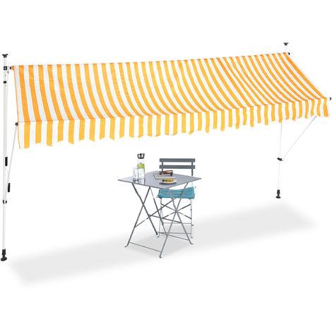 Auvent rétractable Store 400 cm balcon marquise soleil terrasse hauteur réglable sans perçage, jaune-blanc
