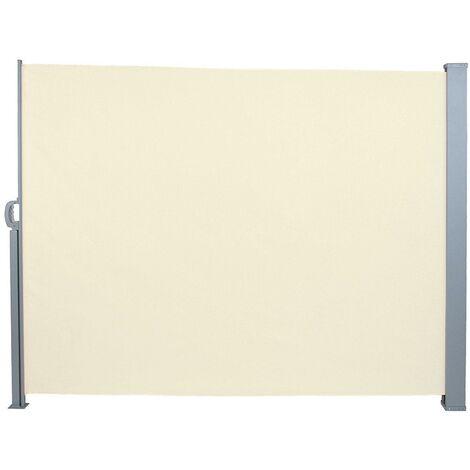 Auvent store latéral brise-vue abri paravent soleil aluminium rétractable hauteur 180 cm longueur 300 cm beige