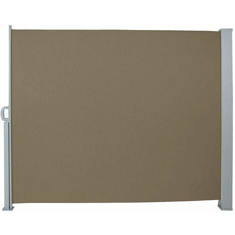 Auvent store latéral brise-vue abri paravent soleil aluminium rétractable hauteur 180 cm longueur 300 cm marron