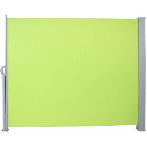 Auvent store latéral brise-vue abri paravent soleil aluminium rétractable hauteur 180 cm longueur 300 cm vert clair - Jaune