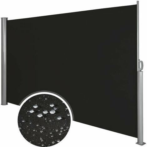 Auvent store latéral brise-vue abri soleil aluminium rétractable 180 x 300 cm noir - Noir