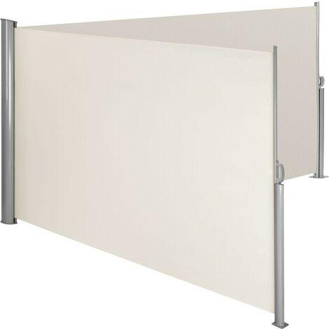 Auvent store latéral brise-vue paravent rétractable double beige 160 x 600 cm - Beige
