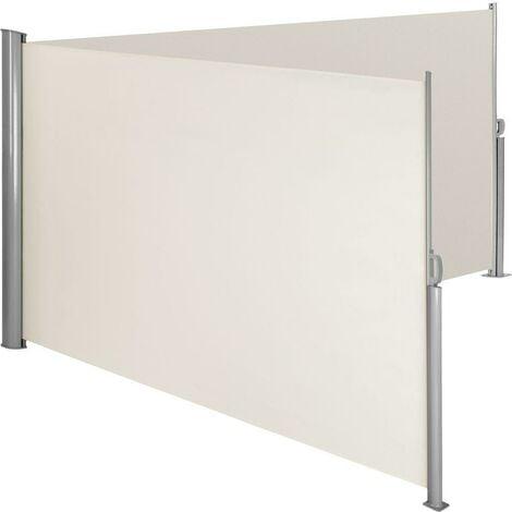 Auvent store latéral brise-vue paravent rétractable double beige 180 x 600 cm - Beige