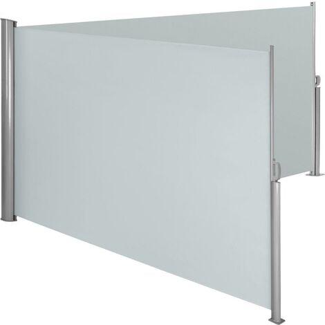 Auvent store latéral brise-vue paravent rétractable double gris 180 x 600 cm - Gris