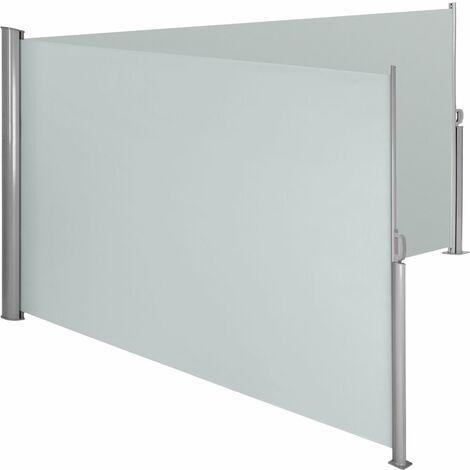 Auvent store latéral brise-vue paravent rétractable double gris 200 x 600 cm - Gris