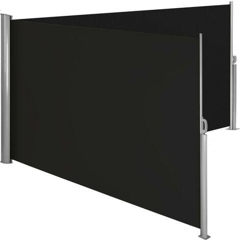 Auvent store latéral brise-vue paravent rétractable double noir 160 x 600 cm - Noir