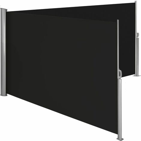 Auvent store latéral brise-vue paravent rétractable double noir 180 x 600 cm - Noir
