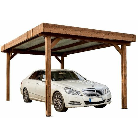 Auvent THONES en bois thermo chauffé toit plat couverture bac acier 10,80 m²