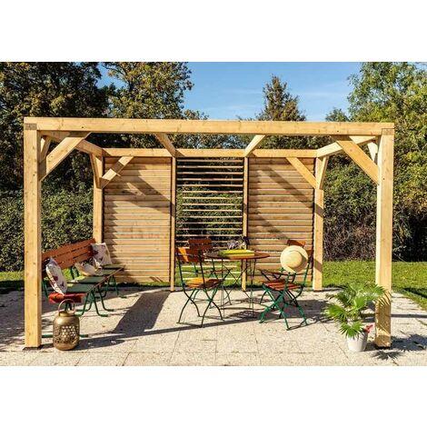 Auvent VENETO bois avec ventelles mur - S.h.t. : 10,57 m2 - dimensions 3,39 m x 3,12 m