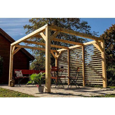 Auvent VENETO bois avec ventelles mur - S.h.t. : 12,20 m2 - dimensions 3,39 m x 3,60 m