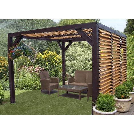 Auvent VENETO bois avec ventelles réglables toit et mur 12,53 m2