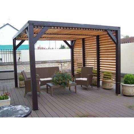 Auvent VENETO bois avec ventelles toit/mur - S.h.t. : 10,57 m2 - dimensions 3,39 m x 3,12 m