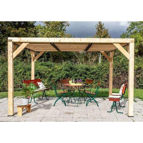 Auvent VENETO bois avec ventelles toit - S.h.t. 10,57 m2 - dimensions 3,39 m x 3,12 m
