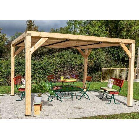 Auvent VENETO bois avec ventelles toit - S.h.t. : 12,20 m2 - dimensions 3,39 m x 3,60 m