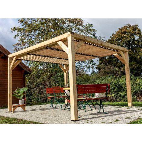Auvent VENETO en bois - toit en ventelles réglables - surface au sol : 12,53 m2