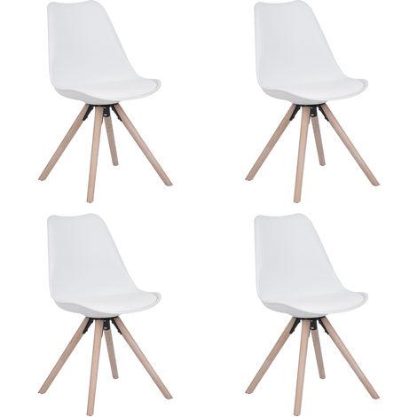 AV81 Set de 4 sillas de comedor blancas