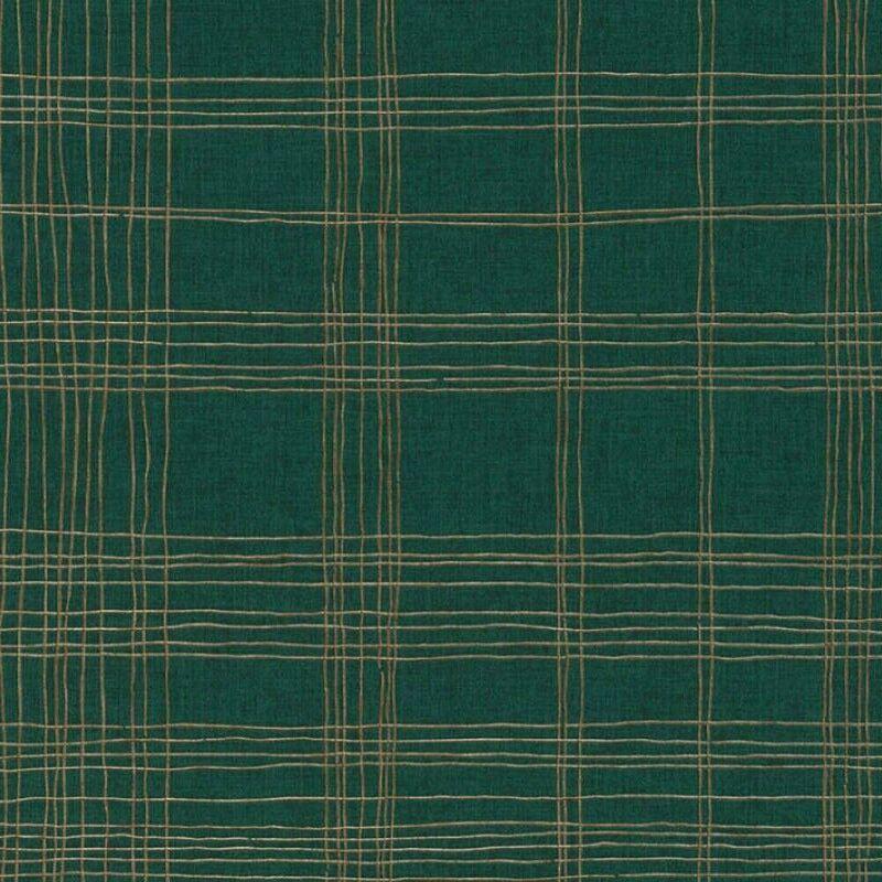 Image of Ava New York Metropolitan Stories Green Metallic Gold Stripe Vinyl Wallpaper