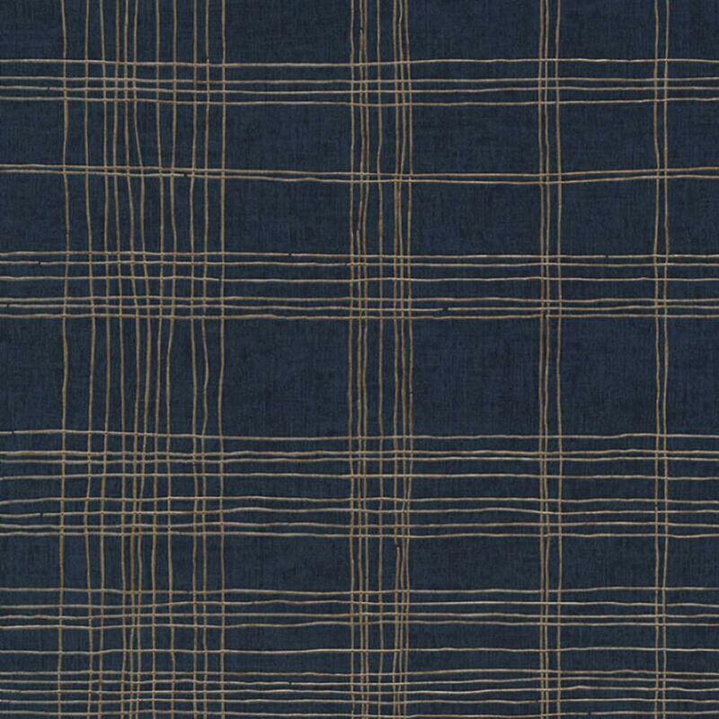 Image of Metropolitan Stories Navy Metallic Gold Stripe Vinyl Wallpaper - Ava New York
