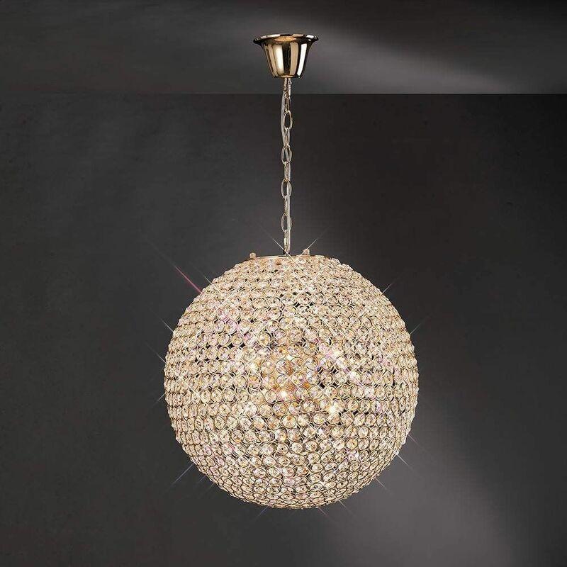 Image of 09-diyas - Ava pendant light 7 Bulbs gold / crystal
