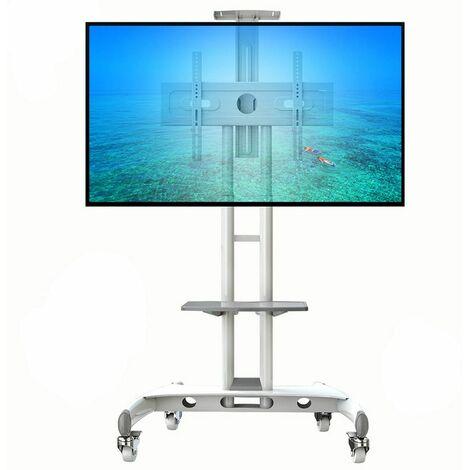 AVA1500 blanc – Pied à roulettes réglable avec support et tablette pour TV LCD / LED 32? – 65?