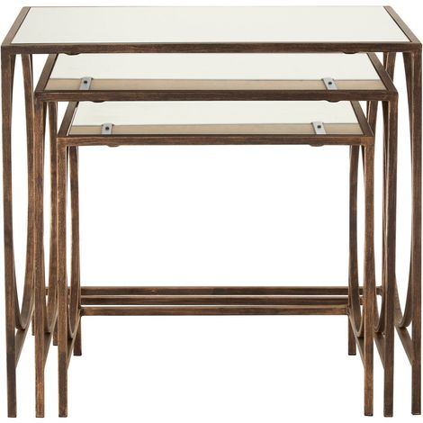 Avantis Nest Of 3 Tables, Mirrored Glass, Metal Frame / Distressed Bronze Finish