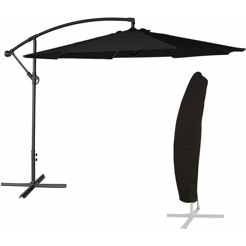 Beneffito - OAHU - Parasol Déporté Rond Diamètre 3 mètres Inclinable - Acier - Housse de Rangement - Protection UV - Ouverture Facile - Noir