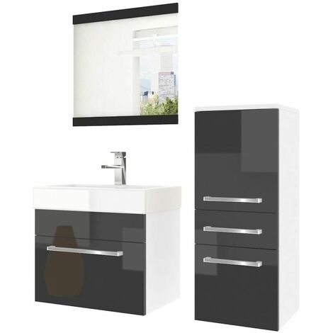 AVERY | Ensemble meubles salle de bain 4 pièces 50 cm | Miroir + Lavabo + Meuble sous lavabo | Vasque céramique - Noir/Blanc
