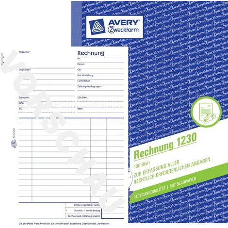 AVERY Zweckform 1230 Rechnung A5, mit 1 Blatt Blaupapier, 100 Blatt wei/ß