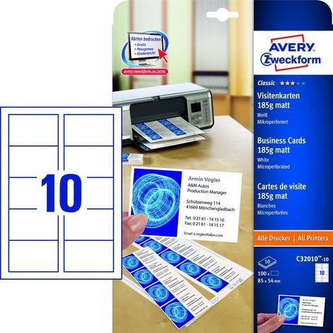 Avery Zweckform C32010 10 Classic Visitenkarten 85 X 54 Mm Beidseitig Beschichtet Matt 10 Blatt 100 Stück