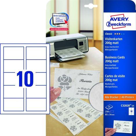Avery Zweckform C32020 25 Classic Visitenkarten 85 X 54 Mm Beidseitig Beschichtet Matt 25 Blatt 250 Stück