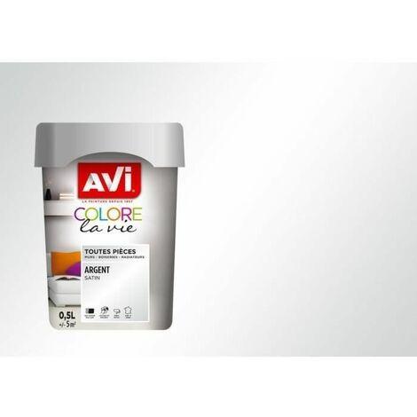 AVI Peinture murale toutes pieces - Argent Metal, 0,5L
