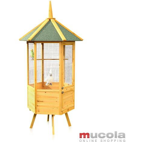 Aviary Bird cage XXL 6-corner birdhouse bird cage house wood