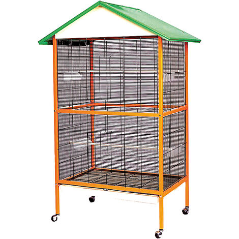 Aviary cage with wheels for birds
