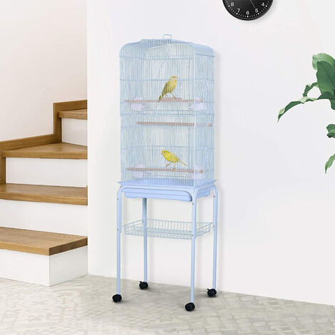 Aviary Iron Birds Cage 46 * 35.3 * 150.6cm Mounting Frame with 4 Wheels White