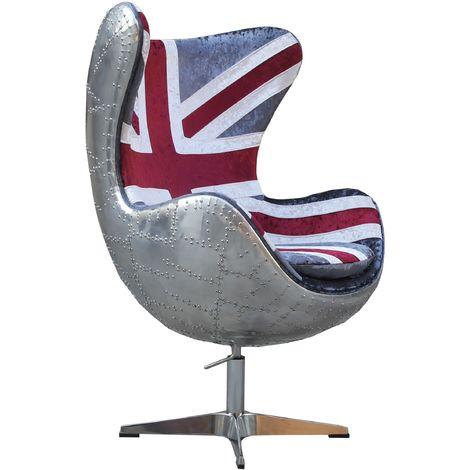 Aviator Union Jack Retro Swivel Egg Chair