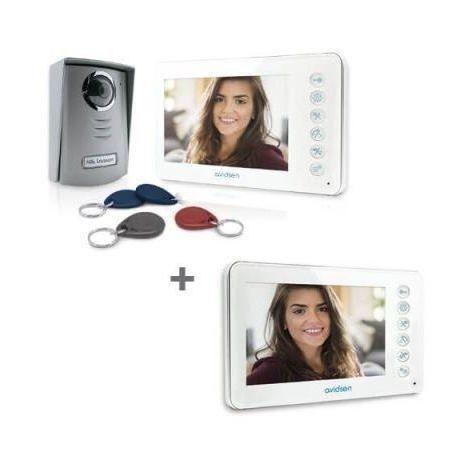 Avidsen YLVA 2+ + badges - Visiophone avec lecteur RFID intégré - Visiophone + écran supplémentaire
