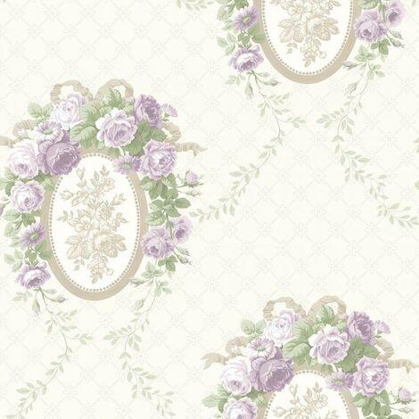 Avington House Floral Wallpaper Purple Beige Cream Roses Flowers Shimmer Vintage