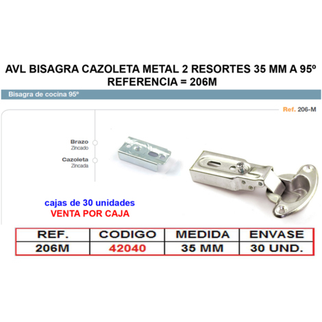 AVL BISAGRA CAZOLETA METAL 2 RESORTES 35 MM A 95? =206M