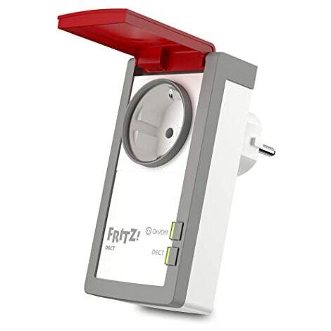 AVM FRITZ!DECT 210 International - Toma de corriente inteligente, interfaz en Español, blanco/rojo